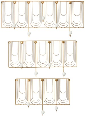 "Willow Row Rectangular White And Gold Metal Round Knob Wall Hooks - Set Of 3: 16"" - 20"" - 24"""