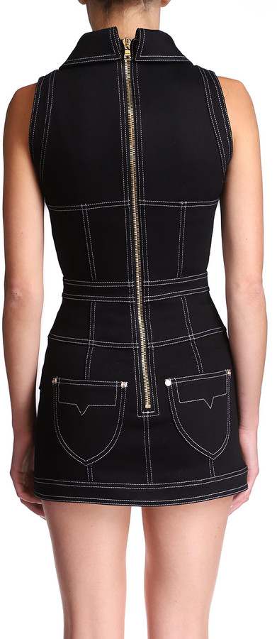 Thumbnail for your product : Balmain Short Topstitched Button-Front Dress