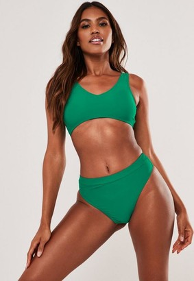 Missguided Green Mix And Match Scoop Neck Bikini Top