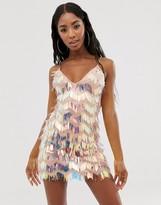 Rare London mini fringe tassel mini dress with chain straps in multi