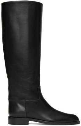 Brock Collection Black Flat Riding Boots