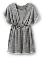Classic Little Girls Knit Tunic Cover Up-Gray Heather Space Dye