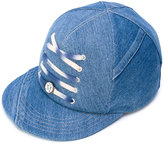Maison Michel lace-up detail denim cap - women - Cotton - S