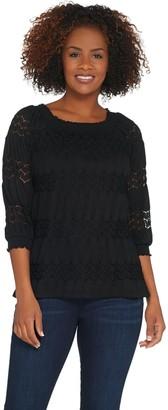 Susan Graver Jacquard Lace Raglan Sleeve Top