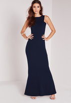 Missguided Low Back Maxi Dress Navy