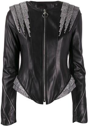 Philipp Plein Crystal Panelled Jacket