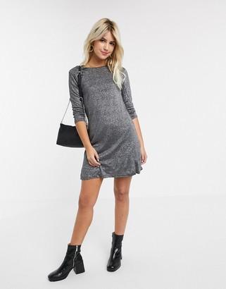 Glamorous swing dress in silver glitter