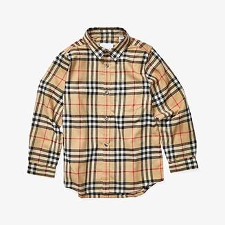 BURBERRY KIDS Fredrick Flannel Shirt (Little Kids/Big Kids) (Archive Beige IP Check) Boy's Clothing