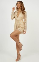 Showpo I Could Use a Love Song Playsuit in rose gold glitter - 6 (XS)