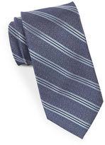 Black Brown 1826 Textured Striped Silk Tie