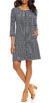 Pendleton Stripe French Terry Zip-Front Scoop Neck 3/4 Sleeve Dress