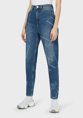 Emporio Armani J29 Regular-Fit Denim Jeans With Laser-Cut Eagles