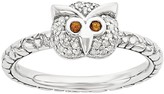 Simply Stacks Sterling Garnet & 1/10 cttw Diamond Owl Ring