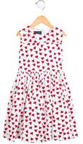 Oscar de la Renta Girls' Pleated Floral Print Dress
