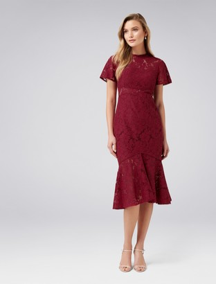 Forever New Venice Lace Midi Dress - Berry Delight - 4