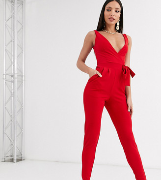 Outrageous Fortune Tall sleeveless fitted jumpsuit with belt in red