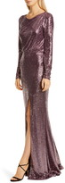 Badgley Mischka Collection Long Sleeve Sequin Gown
