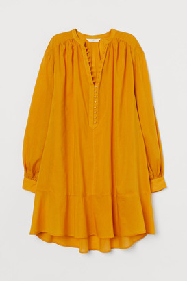 H&M Airy Cotton-blend Tunic - Yellow