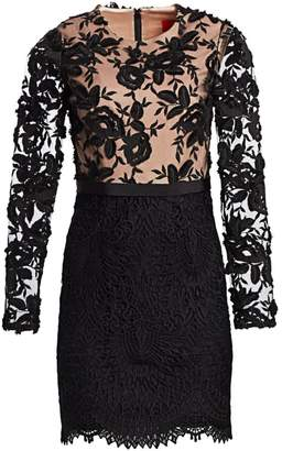 ML Monique Lhuillier Lace Cocktail Dress