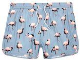 River Island MensBlue flamingo print runner swim trunks