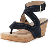 Donald J Pliner Alma Ankle-Strap Wedge Thong Sandal
