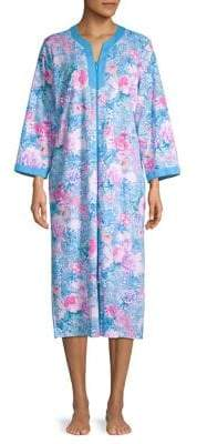 Miss Elaine Floral-Print Cotton-Blend Robe