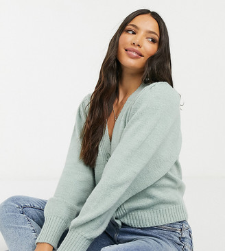 Asos Tall ASOS DESIGN Tall v-neck cardigan with puffed sleeve in green