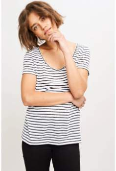 Samsoe & Samsoe Cotton Striped Short Sleeve Nobel Tee - xs | black | cotton - Blue/Black/Black