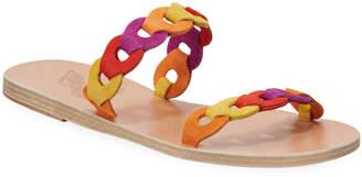 Ancient Greek Sandals Poulia Linked Suede Flat Sandals
