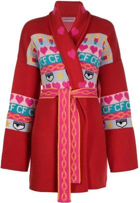 Chiara Ferragni Intarsia Knit Longline Cardigan
