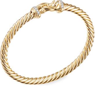 David Yurman 18k Buckle Bracelet w/ Diamonds, Medium