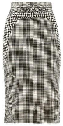 Marine Serre Panelled Checked Wool Midi Skirt - Black White