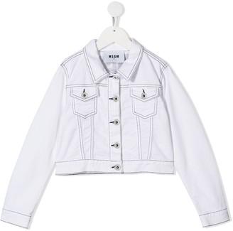 Msgm Kids Stitch Detail Denim Jacket