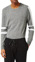 Topman Stripe Sleeve Crewneck Sweater