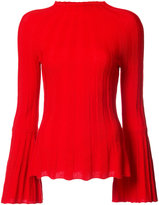 Oscar de la Renta ribbed flared sleeve top