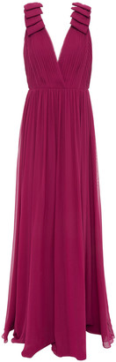 Elie Saab Bow-embellished Pleated Silk-voile Gown
