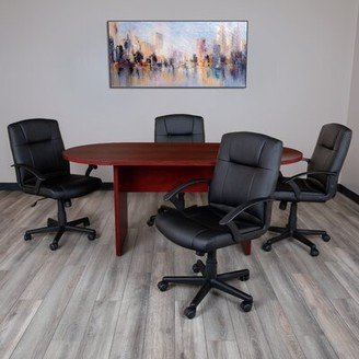 Inbox Zero Oval Conference Table Set Finish: Maroon
