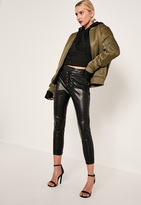 Missguided Tall Black Faux Leather High Waisted Lace Up Trousers