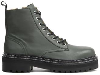 Black Suede Studio Drea Combat Boot Moss