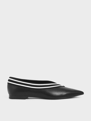 Charles & Keith Striped Trim Ballerina Flats