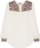 Haute Hippie Floral-embroidered silk-organza top