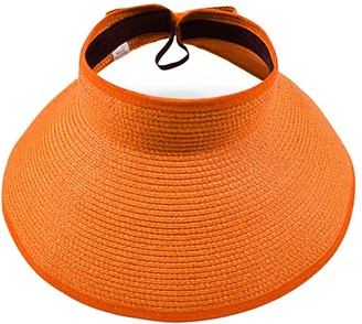 Opromo Women's Crushable Roll-up Wide Brim Straw Sun Hat Beach Visor-Orange