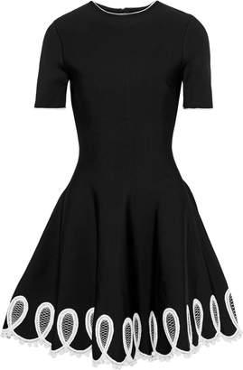 Oscar de la Renta Embellished Ponte Mini Dress