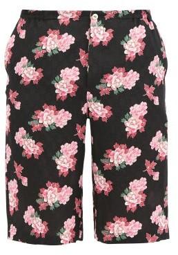 Gucci Peony Fantasy Floral-print Silk Shorts - Black Multi