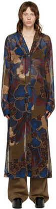 Dries Van Noten Multicolor Chiffon Floral Dress
