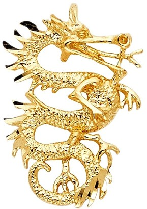 Curata 14k Yellow Gold Dragon Pendant Necklace 17x25mm Jewelry Gifts for Women