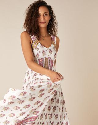 Monsoon Heritage Print Midi Dress in LENZING ECOVERO Ivory