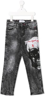 Philipp Plein Junior Logo Skull Print Straight-Leg Jeans