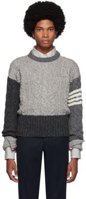 Thom Browne Grey Aran Cable Knit Crewneck Sweater