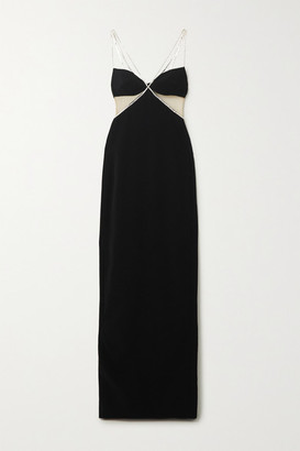 David Koma Crystal-embellished Tulle-paneled Crepe Gown - Black